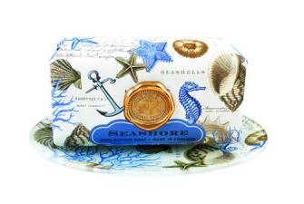 Michel Design Works Seashore shea butter soap ($13) and soap dish ($14), available at Flush Bathroom Essentials.
