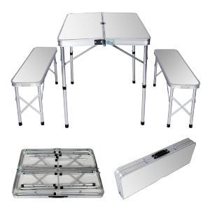 table de camping alu pliante en valise 2 bancs 90 cm