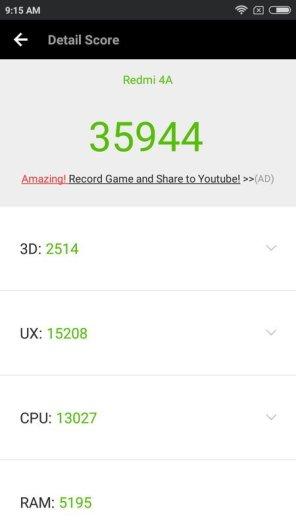 Xiaomi Redmi 4A AnTuTu