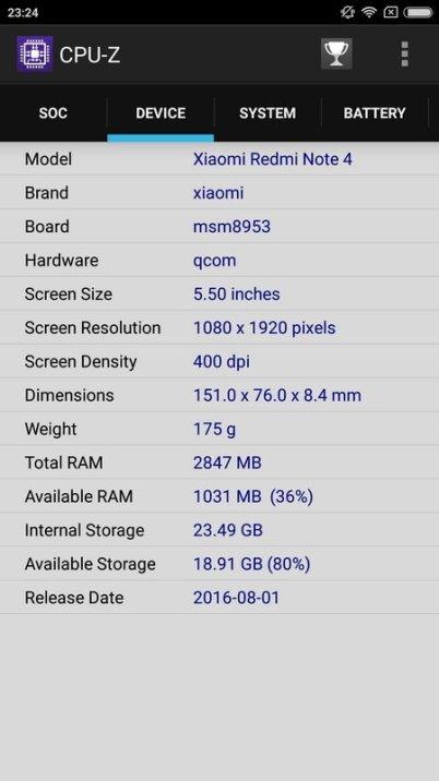 Xiaomi Redmi Note 4 CPU Z (2)