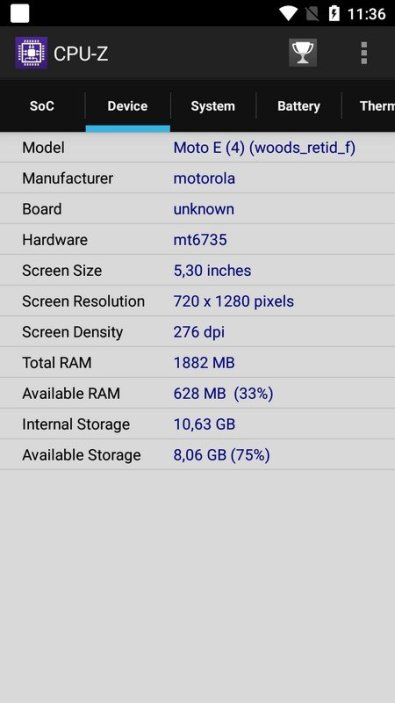 Moto E4 CPU Z (2)