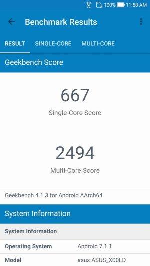 Asus ZenFone 4 Selfie Geekbench 4