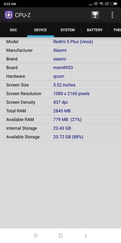 Xiaomi Redmi 5 Plus CPU Z (3)