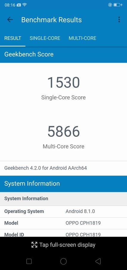 Oppo F7 Geekbench