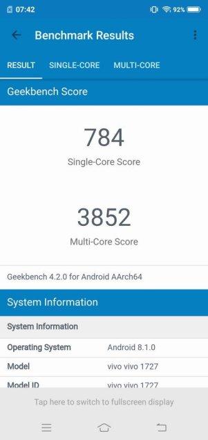 Vivo V9 Geekbench