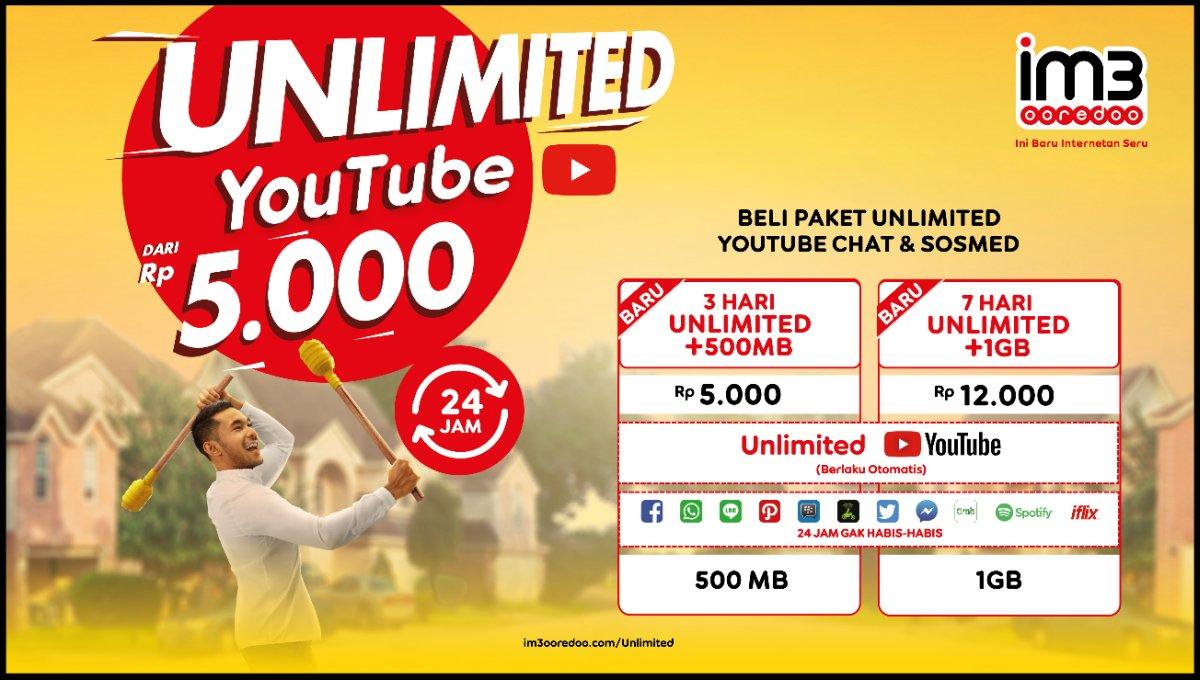 Sambut Ramadhan Im3 Ooredoo Hadirkan Paket Unlimited Youtube Mulai Kuota Menariknya Bisa Dinikmati Dengan Harga Yang Sangat Terjangkau Yakni Dari Rp5000 Utama 500mb Dan Rp12000 Untuk