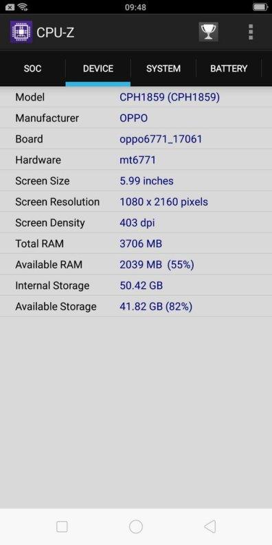 Oppo F7 Youth CPU Z (3)