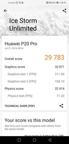 Huawei P20 Pro 3D Mark Ice Storm