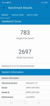 OPPO A7 Geekbench