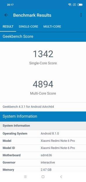 Redmi Note 6 Pro Geekbench