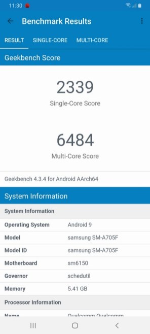Galaxy A70 Geekbench 4