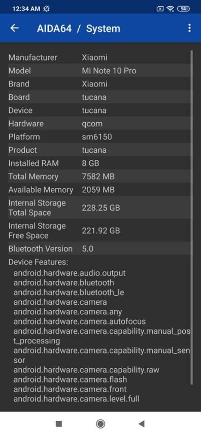 Xiaomi Mi Note 10 Pro AIDA64 (3)