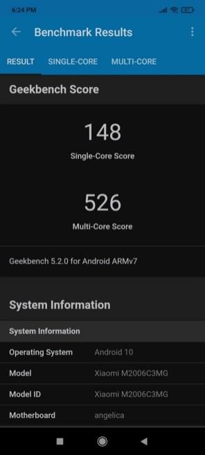 Redmi 9C Geekbench