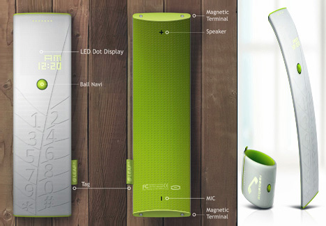 Leaf, Solar Charging Mobile Phone by Seungkyun Woo & Junyi Heo