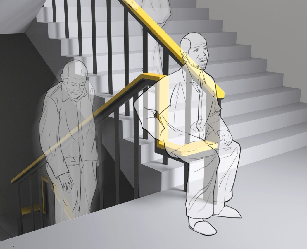 A Simple Design Upgrade To The Staircase Handrail Allows Elders To   Staircase Design Near Me   Stair Case   Stair Parts   Handrail   Stair Railing   Interior Design
