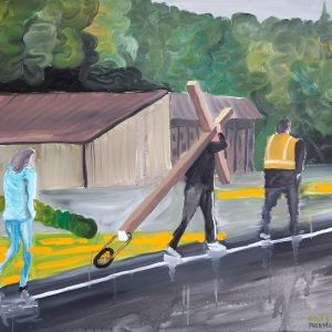 """""""Grupo de amigos en Philly"""" - 2015, 95X80 cm - Oleo sobre lienzo"""