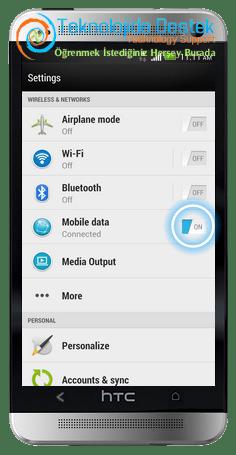 HTC One™ Mobil Veriyi Acma Kapatma (3)