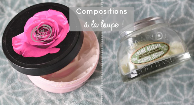 Compositions à la loupe du beurre corporel the body shop et d'une crème de l'Occitane