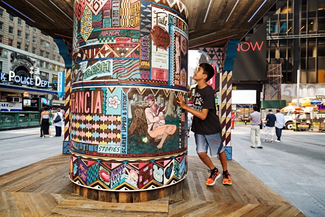 FAILE: Wishing on You August 17, 2015 - September 1, 2015 Brooklyn-based artist collaboration FAILE bring FAILE: Wishing on You, an installation reimagining Asian prayer wheels in the context of Times Square's kaleidoscopic history, to the Broadway plaza between 42nd and 43rd Streets. Artists Patrick McNeil and Patrick Miller are using this piece, their largest to date, to re-imagine Times Square - a sacred American landscape known both for bright lights and the gathering of many communities. In collaboration with Brooklyn Museum.