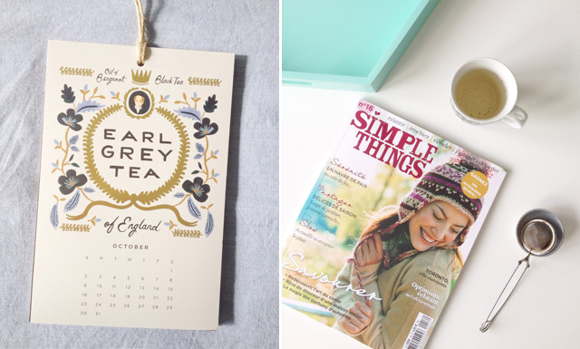 Calendrier de Rifle Paper Co et magazine Simple Things - blog lifestyle féminin B&B