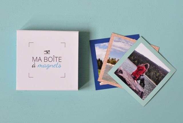 Les aimants imprimés par Mon Album Photo, reçus dans une jolie boîte à magnets!