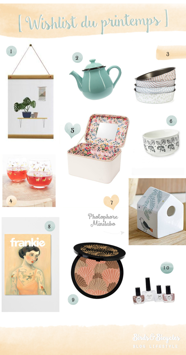 Jolies choses: la wishlist du printemps sur le blog lifestyle Birds and Bicycles - shopping