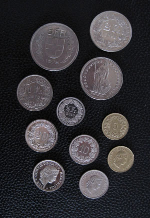 francs suisses pieces