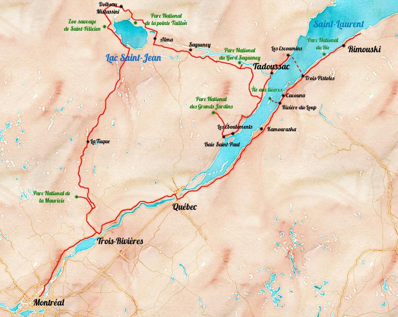 Carte: itinéraire de roadtrip au Quebec