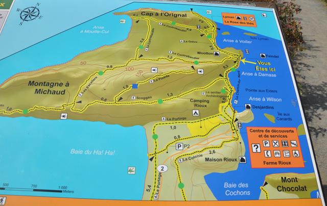 Carte chemins du Bic
