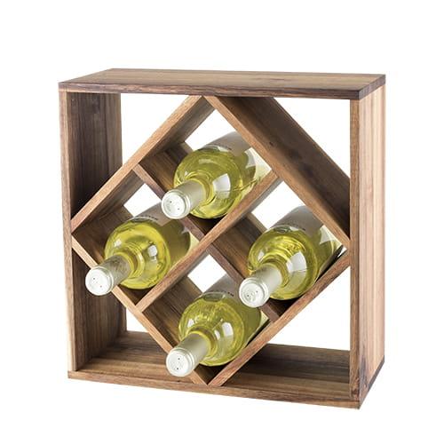 rustic farmhouse acacia wood lattice wine rack