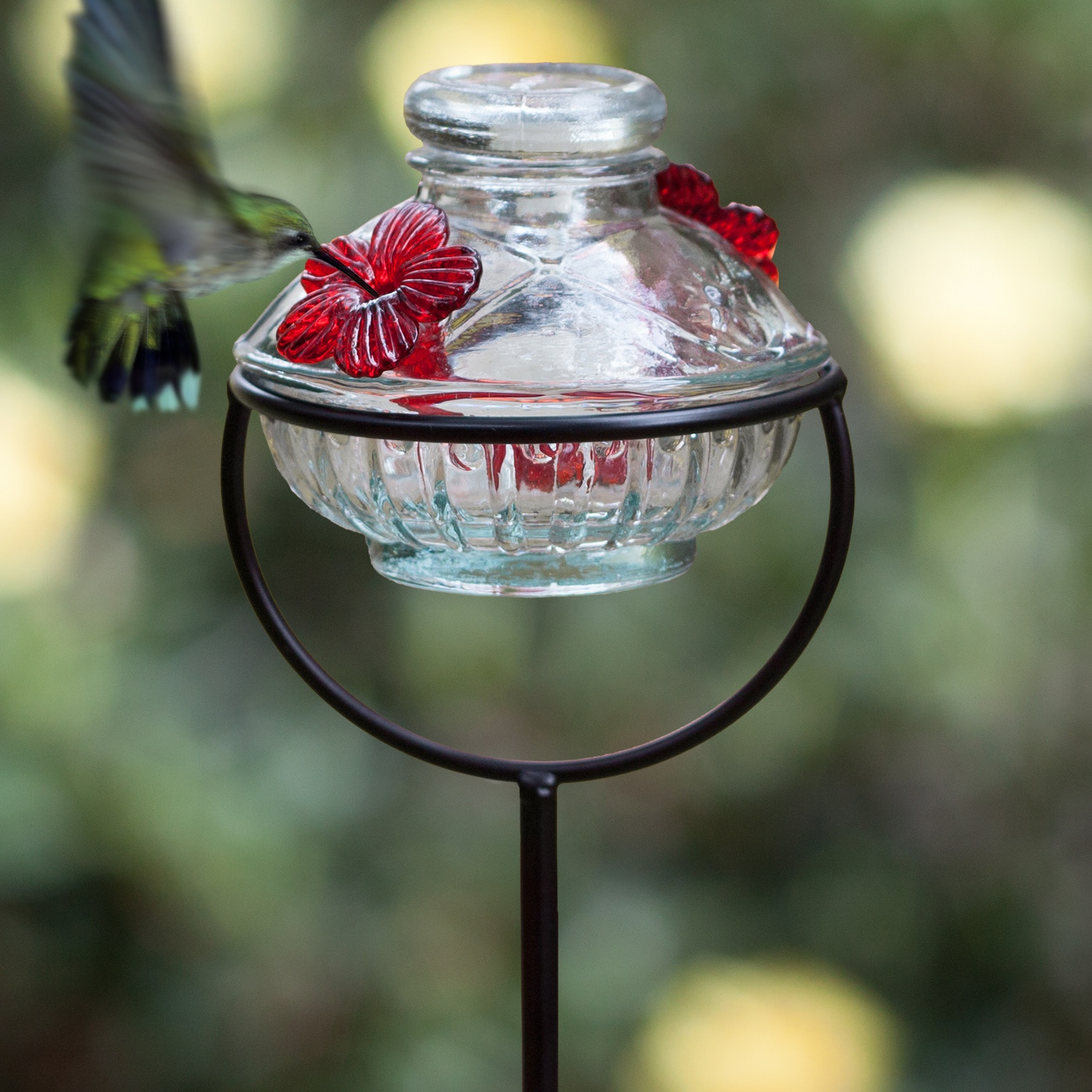 Pot de Creme Glass Stake Hummingbird Feeder  Yard Envy