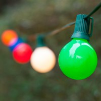 Globe String Lights, Opaque Multicolor G50 Bulbs, Green ...