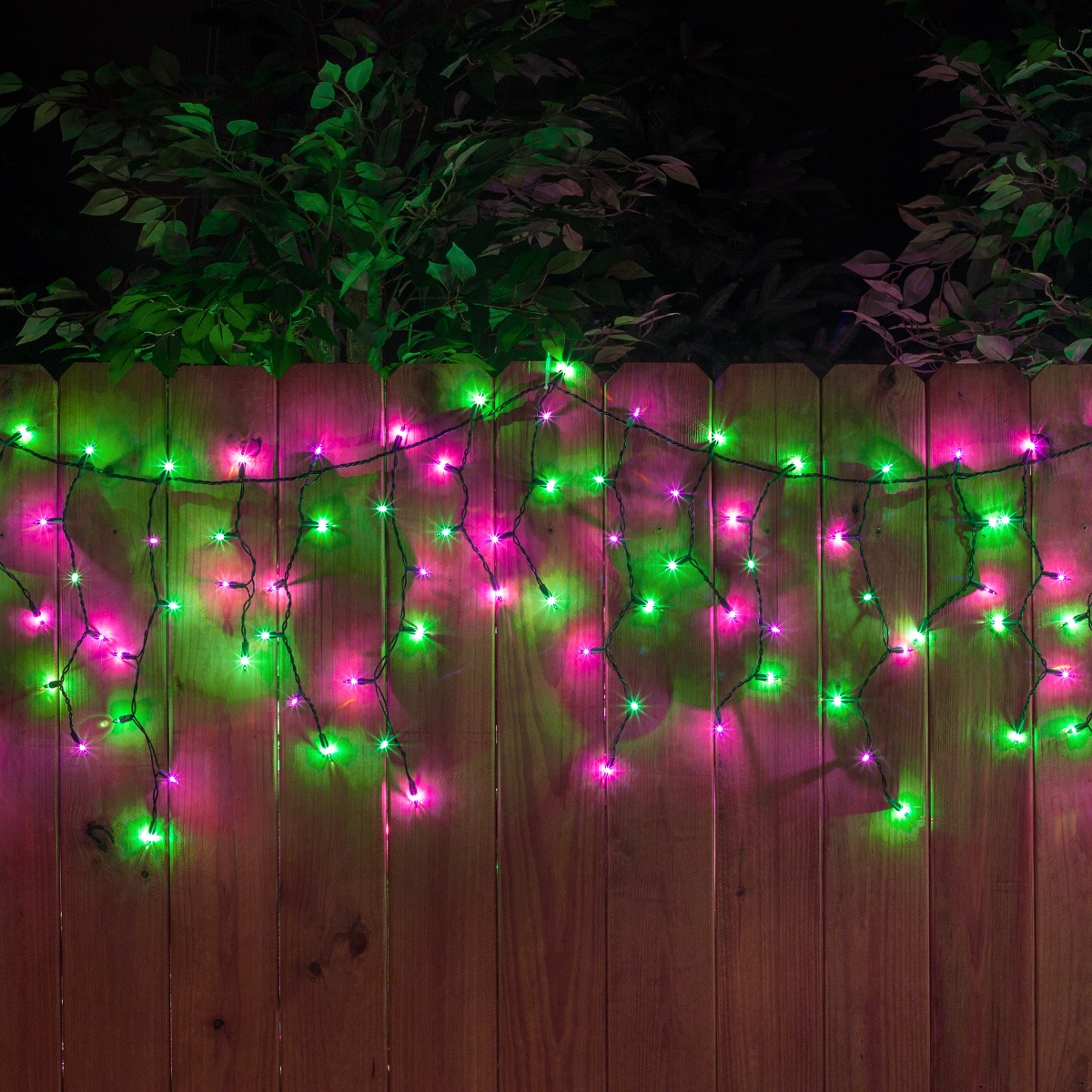 150 Halloween Icicle Lights PurpleGreen Black Wire  Yard Envy