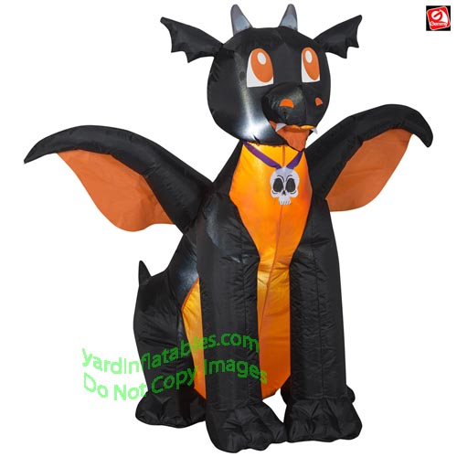 4 Gemmy Airblown Inflatable Black Orange Baby Dragon 2243