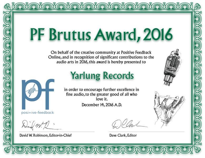 PF Brutus Award 2016   Yarlung Records