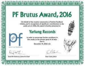 PF Brutus Award 2016 | Yarlung Records