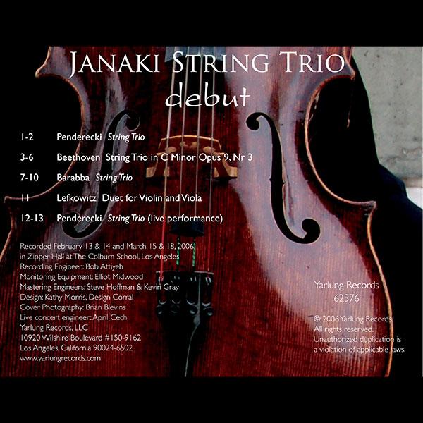 Janaki String Trio Debut CD
