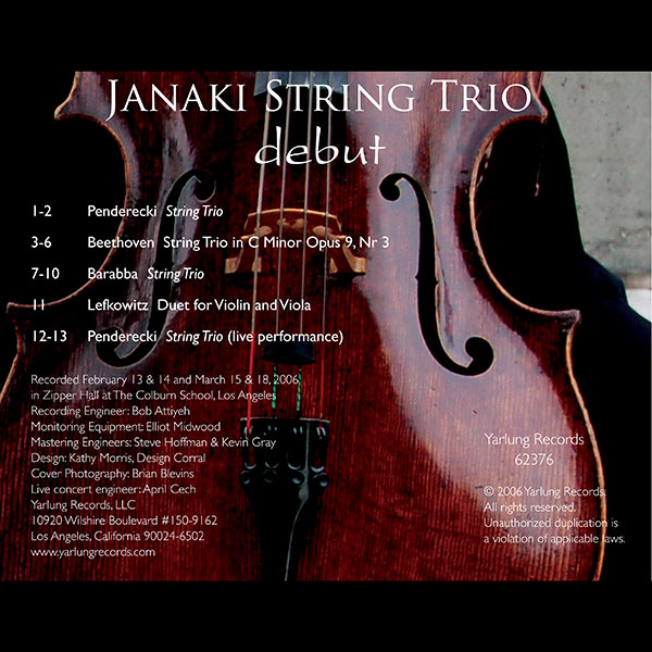 Janaki String Trio Debut CD