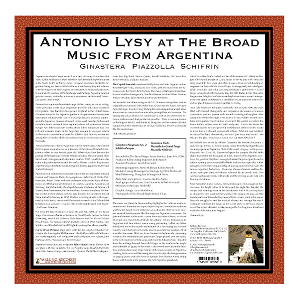 Antonio Lysy LP Music From Argentina Back cover