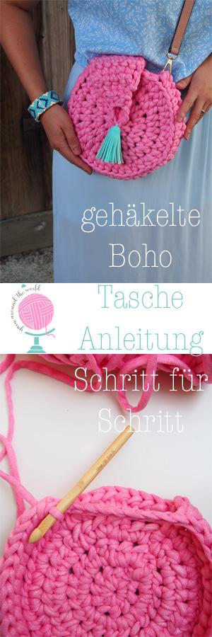 gehäkelte runde Tasche, Textilgarn, Luxus Macaroni, Hobbii, pink, mit Tassel, Pinterest