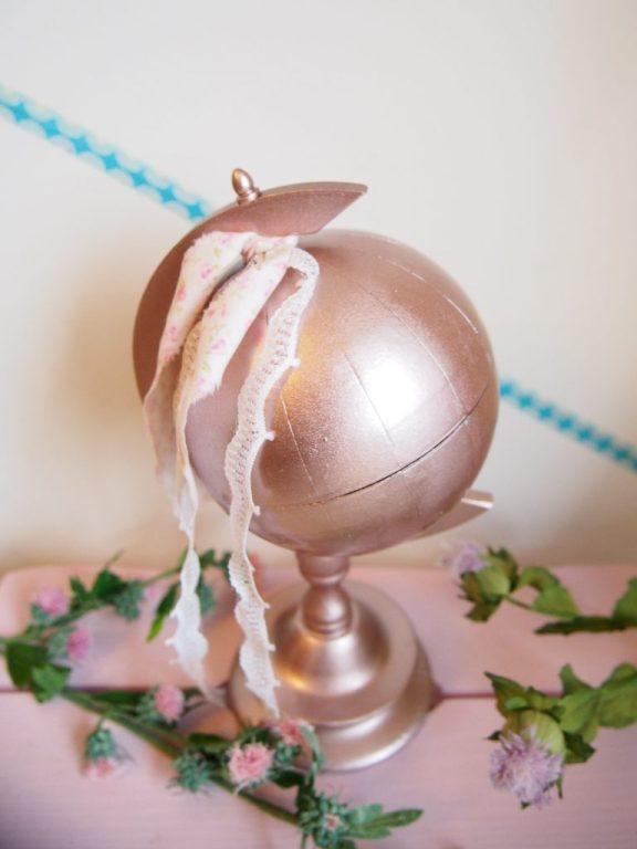 Rosa, Globus, Ringkissen, DIY, Hochzeit, Hochzeitsdekoration, Reisen