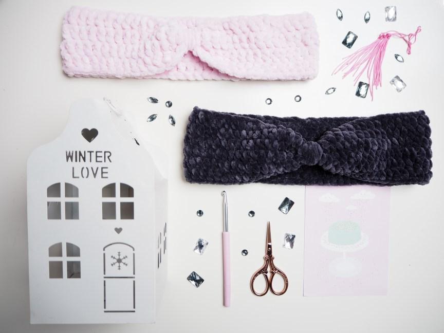 Häkelanleitung, Stirnband, einfach gehäkelt, My Boshi Samt, rosa, grau