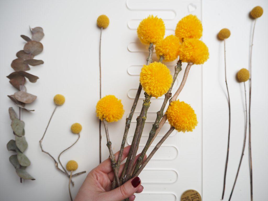 Gelb, Wolle, Pick & Pom, Pompon Blumen, DIY, basteln