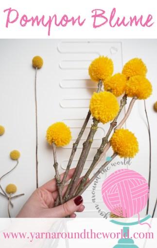 Pinterest, Pompom, Pompon, Blume, DIY, basteln