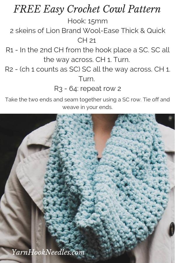 Easy Crochet Cowl Pattern Free Yarnhookneedles