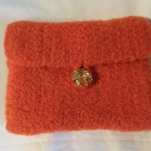 Carrot Felted Wallet (envelope)