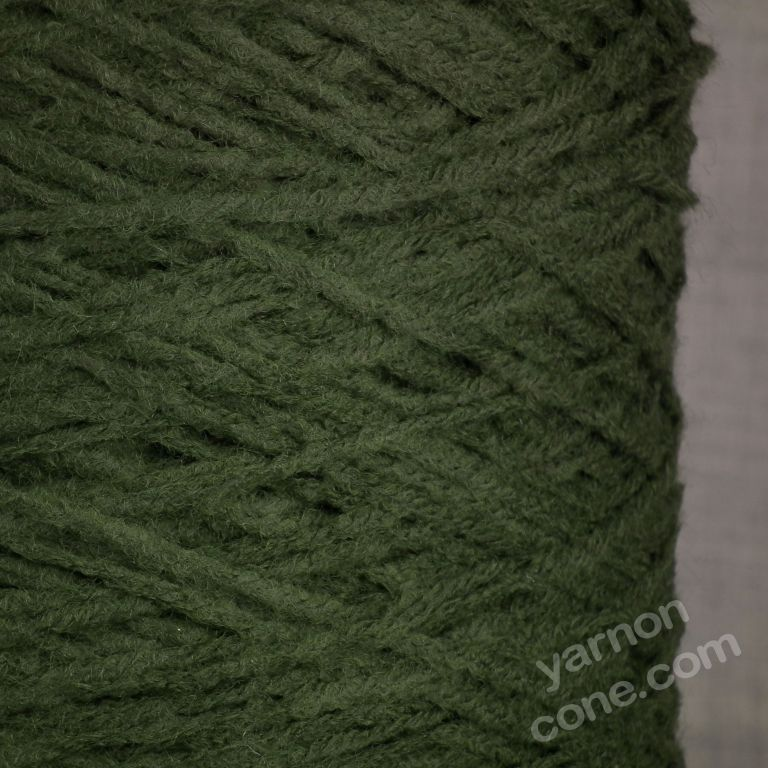 soft quality 4 ply dk double knitting wool blend knitting yarn on cone dark moss green