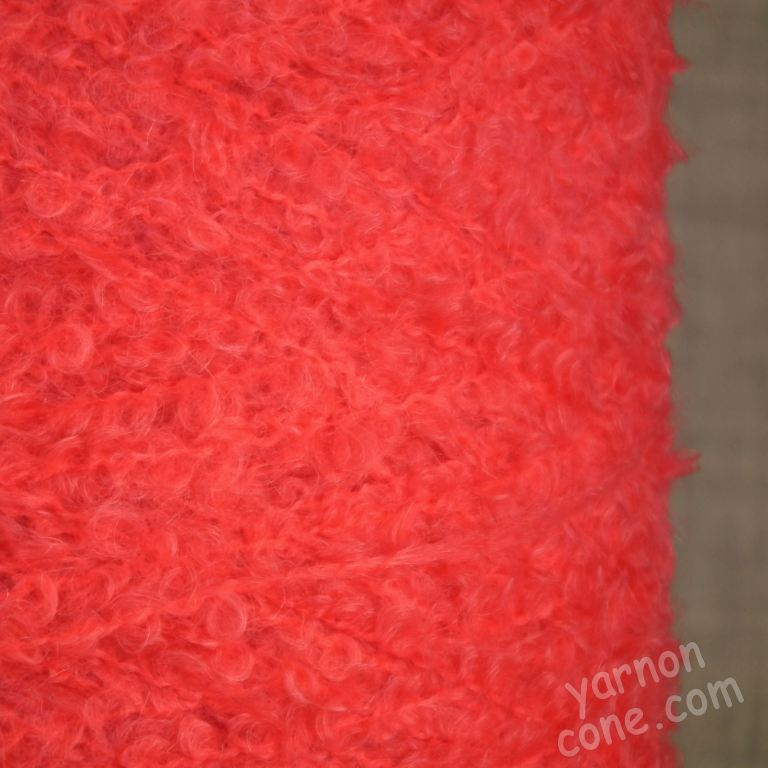 kid mohair loop boucle on cone merino soft warm 4 ply yarn coral pink