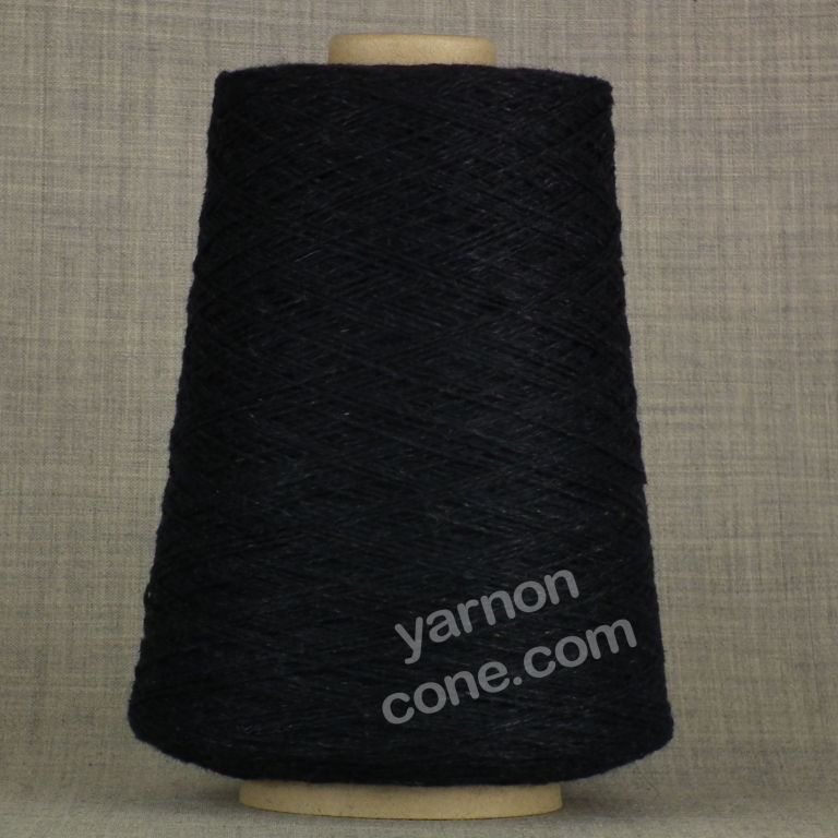 Navy blue dark melange cashmere merino 3 ply yarn on cone wool hand machine knit