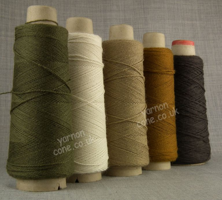 Jura weaving wool 4 ply yarn cone leather walnut brown cream khaki green ecru